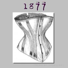 Coutil Corset - Victorian Reproduction PDF Pattern - 1870's -  made from original 1877 pattern by RepeatedOriginals on Etsy