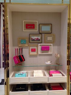 Trays with accessories and goodies!  Great idea under a glass shelf! #smc