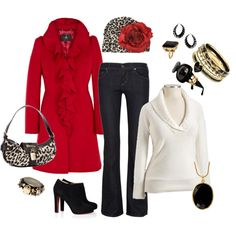 Gorgeous Ruby red Coat, dark wash jean, white sweater...looks cute with a dash of leopard!