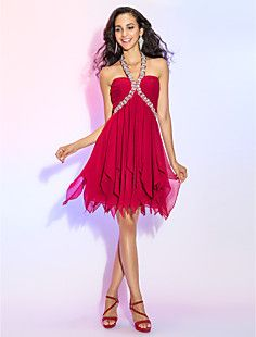 A-line Halter Short/Mini Chiffon Cocktail/Prom Dress With Be... – USD $ 79.29