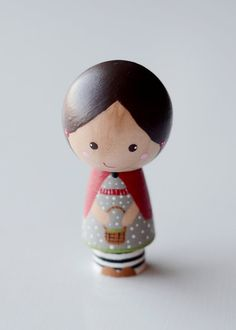Wooden Kokeshi Whimsical Red Riding Hood Peg Doll by tinyhouselove