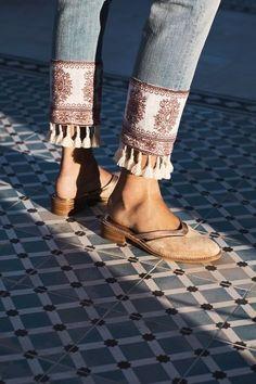 tassel jeans - love the fringed bandana hem