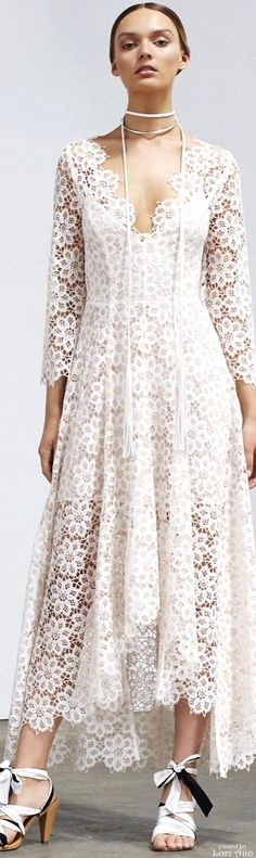 Zimmermann Resort 2016 white long lace dress @roressclothes closet ideas #women fashion outfit #clothing style apparel