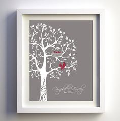 Personalized Family Tree with love birds and babies por fancyprints