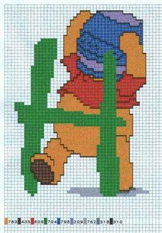 Borduurpatroon Kruissteek Winnie the Pooh Alfabet *Cross Stitch Pattern Winnie the Pooh Alphabet ~H~