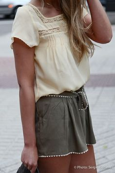 pair neutrals together this summer like these olive shorts and short-sleeve ivory blouse.