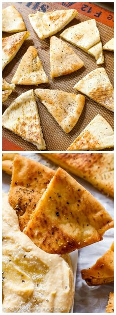 Homemade Crunchy Pita Chips for healthy snacking and dipping into homemade hummus. Homemade Pita Chips, Homemade Hummus, Pita Chips Recipe, Baked Pita Chips, Appetizer Recipes, Snack Recipes, Cooking Recipes, Appetizers, Bread Recipes