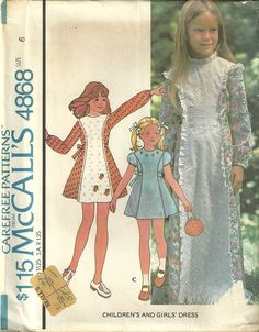 Classy Patterns - McCalls 4868 Girls Vintage 70s Granny Prairie Dress Sewing Pattern Long & Short Size 6