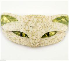 Lea Stein Large Figural White Green Romeo Cat Head Pet Brooch Pin France Paris | eBay