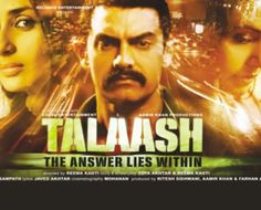 Bollywood Film Critic  Review  Talaash is a psychological thriller which has a  murder to solve, a mystery to unveil, emotions and relationships strained with personal loss to heal, and paranormal phenomena's!   Director: Reema Kagti  Cast: Aamir Khan, Kareena Kapoor, Rani Mukerji, Nawazuddin Siddiqui, Vivek Madan,Shernaz Patel, Raj Kumar Yadav,   Story and Screenplay: Reema Kagti, Zoya Akhtar  Running Time: 140 minutes  Genre: Psychological Thriller  Rating:***.5 (3.5/5)
