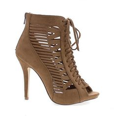 Peep Toe Cut Out Corset Lace up Stiletto Heel Dress Sandal (7 M US, Tan Imsu) - Brought to you by Avarsha.com