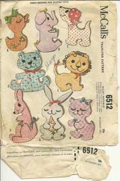 Vintage Stuffed Animal Pattern