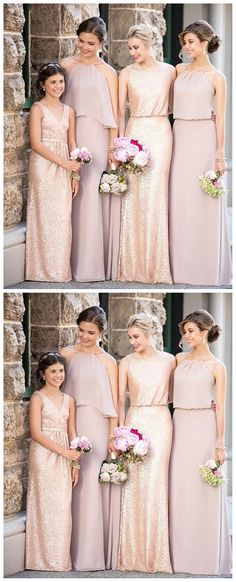 Cheap Mismatched Dark Gold Sequin Long Bridesmaid Dresses, Affordable Unique Custom Long Bridesmaid Dresses, Affordable Bridesmaid Gowns, BD110