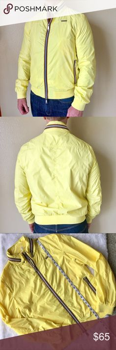 Antony Morato Men's Yellow Bomber Jacket 52 Antony Morato Yellow Bomber Jacket Size 52 Men's Zipper Front and Side Zip Pockets Lightweight  Everything comes from a pet and smoke free home. Approximate measurements in photos. Preowned- in great condition Antony Morato Jackets & Coats