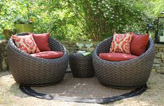 Invite your bestie over for the afternoon and cozy up in this pair of  Corona chairs for reading, gossip, or just hanging out. The Corona  collection includes two large swivel chairs and a matching side table with  glass top. They are constructed with an aluminum frame covered with a  natural looking, heavy weave. Color coordinated Sunbrella seat cushions and  throw pillows finish off the southwestern inspired look. Feel free to sit  cross legged in the extra wide seats…. because you can…