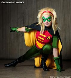 Stephanie Brown Robin cosplay by CourtoonXIII wearing Supermask leather mask by Ravenwood Masks