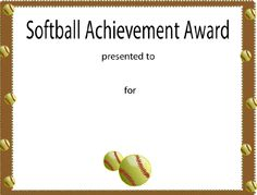 softball awards certificates  Free Printable Softball Certificates, Softball Awards, Softball ...