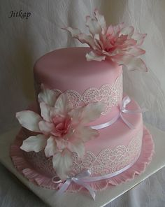 Pink lace and fantasy flowers
