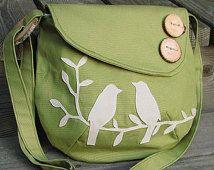 Small Tweeting Birds Purse /Tote /Handbag / Handmade Wood Button / 6 Large Pockets/ 17 Color Options