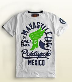Men's Mayastile Poktapok T-shirt, Mexican apparel, cool fashion men, Color White, 100% Cotton.  Playera Hombre Mayastile Pokatapok (Juego de pelota Maya), T-shirt, ropa mexicana, color blanco, 100% Algodón.  #TEE #TSHIRT #Graphictee #hechoenmexico #pok-ta-pok