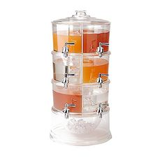 The MIND READER 3 Tier Beverage Drink Dispenser quenches your thirst for flavor  space  and convenience! Now you can have a lemonade pitcher  water and fruit infuser  and sangria pitcher combined into one! Each compartment can hold up to 48 fl oz (3 gallons combined) providing your dinner party or get together with three deep tanks of fun! Drink Dispenser, Drink Holder, Cereal Dispenser, Glass Dispenser, Cool Kitchen Gadgets, Cool Kitchens, Black Kitchens, Tabletop, Punch Bowls