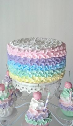 Ruffle Fake Cake Photo Prop with Pastel Frosting for Easter Spring Birthday Smash Cakes Party Decorations, Shop Displays, Home Accents