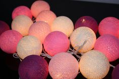 20 Mix Valentine Tone Cotton Ball String Lights For Bedroom, Wedding Party Floral Home Decoration,Indoor string lights.
