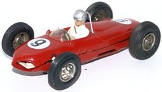 Vintage Red #9 Ferrari Race Car with Driver Slot Car Racer