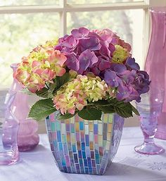 purple hydrangea in mosaic planter great for summer decor
