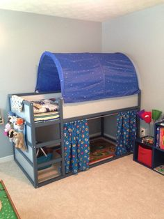 IKEA Kura bed I customized for my train loving little boy!The IKEA Kura bed I customized for my train loving little boy! Ikea Kids Bed, Ikea Bed, Ikea Children, Kids Bed Canopy, Kids Bunk Beds, Bunk Bed Fort, Kids Beds For Boys, Canopy Tent, Kura Bed Hack