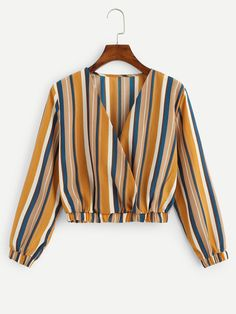 Young Boho Striped Regular Fit V Neck Long Sleeve Pullovers Multicolor Crop Length Surplice Front Striped Tee Girls Fashion Clothes, Teen Fashion Outfits, Hijab Fashion, Clothes For Women, Fashion Dresses, Fashion Top, Emo Fashion, Fashion Styles, Fashion Online