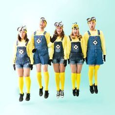 Save this easy DIY group Halloween costume idea to turn your crew into Minions.