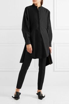 Chalayan - Tie-back Cotton-poplin Shirt - Black - IT40