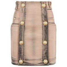 Balmain Button Front Denim Skirt