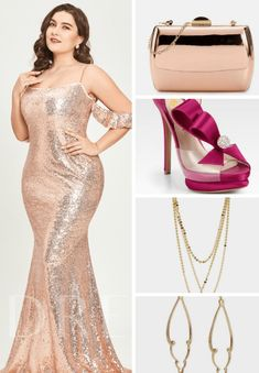 A sexy plus size prom outfit inspiration. Plus sisze evening gown inspiration Including gold sequin dress from TB Dress, shoes from FSJshoes, and more! Mermaid Sequin Dress, Gold Sequin Dress, Plus Size Prom Dresses, Plus Size Outfits, Dresses For Work, Tb Dress, Dress Shoes, Sequin Evening Dresses, Evening Gowns