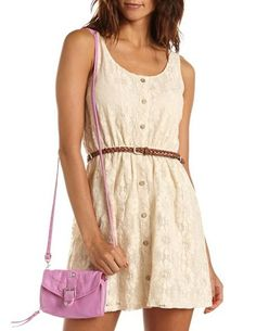 Belted Button-Front Lace Dress: Charlotte Russe