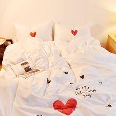 韩国爱心贴布绣全棉四件套亲肤创意60支纯棉贡缎床单裸睡床上用品