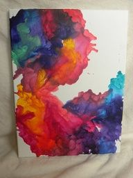Abstract Melted Crayon Art on Canvas: Red, Yellow, Pink Green. $25.00, via Etsy. ...or you could make one yourself?