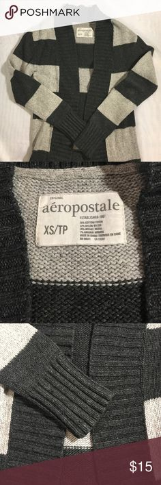Aeropostale Long sleeve Cardigan Excellent condition, light grey and dark grey , very warm and thick good for fall or winter , long length , cover tush . Aeropostale Sweaters Cardigans