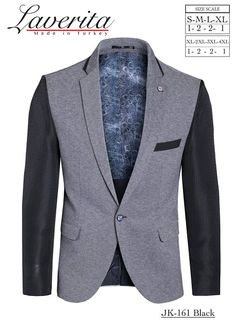 New Mens Laverita Modern Slim Fitted Single Button Blazer Sports Coat Gray With Black Sleeves and Accents Premium Quality Cotton Fabric *NOTE: This jacket is ideal for slim fitted men only. Receive complementary set of bowtie with every jacket purchase! Size 36 (S): Chest 36 in,