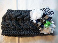 Women's Knit Crochet Ear Warmer Seattle Seahawks NFL Football Headband Handmade #SeattleSeahawks