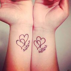 Inspiring Sisters Tattoo Designs for You Sister Heart Tattoos, Sister Symbol Tattoos, Unique Sister Tattoos, Cute Sister Tattoos, Little Heart Tattoos, Sister Tattoo Designs, Sibling Tattoos, Best Friend Tattoos, Family Tattoos