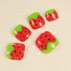 Sweet Girl Fake Toenails Lovely Red Straw Berry Full Nail Tips Nails For Toes Vacation Must 24pcs Z513