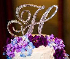 "5"" Swarovski Crystal Monogram Cake Topper ANY LETTER from the ALPHABET A B C D E F G H I J K L M N O P Q R S T U V W X Y Z on Etsy, $69.18 CAD"