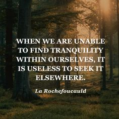"""""""When we are unable to find tranquility within ourselves, it is useless to seek it elsewhere."""" — La Rochefoucauld"""