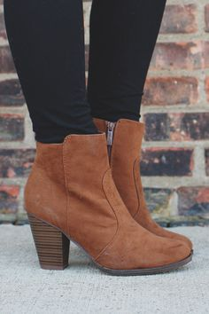 Tan Faux Suede Round Toe Chunky Heel Bootie
