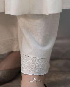 ruhee-bel-cotton-farshi #GoodEarthSustain Pakistani Formal Dresses, Pakistani Fashion Casual, Pakistani Dress Design, Salwar Pattern, Suit Pattern, Pants Pattern, High Collar Blouse, Salwar Pants, Indian Designer Suits