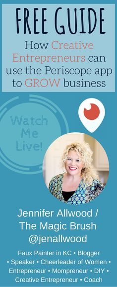 A free guide to how you can use the Periscope App to help grow your business! This is a must for Creative Entrepreneurs looking to increase traffic and brand awareness! This free e-book is written by Jennifer Allwood, owner of theMagicBrushinc.com who mentors creative entrepreneurs and wants to help you succeed!