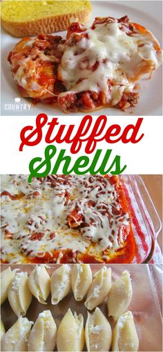 Easy cheese stuffed shells hese Stuffed Shells are a classic family-favorite meal! A creamy filling topped with a homemade meat sauce and lots of gooey cheese! - Stuffed Shells recipe from The Country Cook Italian Dishes, Italian Recipes, Beef Recipes, Cooking Recipes, Pasta Recipes, Italian Meals, Cooking Fish, Cooking Hacks, Bon Appetit