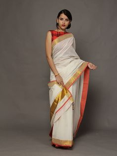 French Vanilla and Gold Kerela Cotton Saree from TheLoom.in